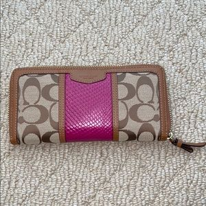 Magenta and Brown Coach wallet